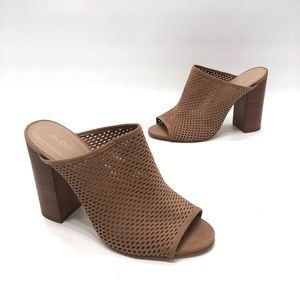 Aldo tan leather perforated heel open back size 10